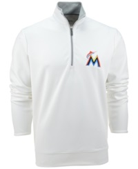 Antigua Men's Miami Marlins Leader Pullover White Silver