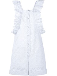 Philosophy Di Lorenzo Serafini Sleeveless Crochet Ruffle Playsuit White