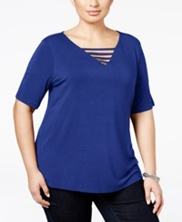 Inc International Concepts Plus Size Cutout V Neck T Shirt Only At Macy's Goddess Blue
