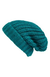 Hinge Women's Chunky Knit Beanie Blue Green Teal Green
