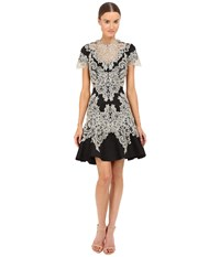 Marchesa Stretch Crepe Fitted Cocktail With Flared Skirt Gold Beaded Appliques And Cut Out Details Black Women's Dress