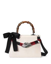 Gucci Lilith Leather Top Handle Satchel Bag White Red Black White Red