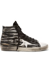 Golden Goose Suede And Leather Trimmed Coated Canvas Sneakers Black