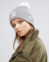 New Era Ny Bobble Beanie Grey