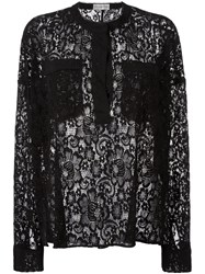 Faith Connexion Semi Sheer Lace Blouse Black