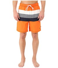 Nautica Stripe Color Block Trunk Fireside Men's Swimwear Orange