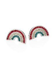Marc Jacobs Rainbow Crystal Stud Earrings Red Multi