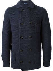 Drumohr Double Breasted Bold Knit Cardigan Blue