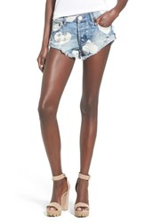 Women's One Teaspoon 'Bandit' Heart Print Destroyed Cutoff Shorts Cupid