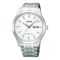 Lorus Rxn39cx9 Men's Day Date Bracelet Strap Watch Silver White