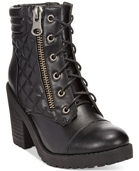 Rampage Harrison Lace Up Lug Booties Women's Shoes Black