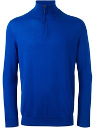 N.Peal 'The Regent' Half Zip Sweater Blue