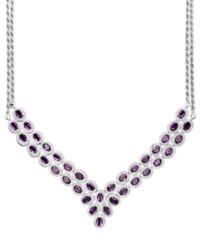 Macy's Sterling Silver Necklace Amethyst Two Row Bib Necklace 14 Ct. T.W.
