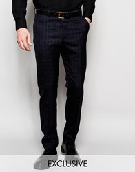 Number Eight Savile Row Exclusive Tartan Trousers In Skinny Fit Blue