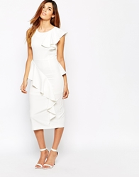 Arrogant Cat Asymmetric Frill Pencil Dress White