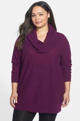 Halogen Cowl Neck Cashmere Tunic Sweater Plus Size Purple