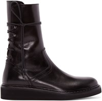 Ann Demeulemeester Black Lace Up Boots