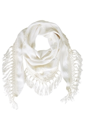 Topshop Embroidered Tassel Scarf White