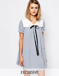 Reclaimed Vintage X Liquid Lunch Babydoll Dress With Collar And Tie Detail Blue