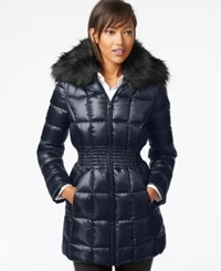 Laundry By Shelli Segal Faux Fur Collar Puffer Down Jacket Navy
