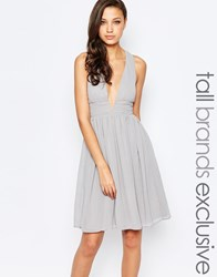 True Decadence Tall Midi Plunge Front Open Back Prom Dress Grey