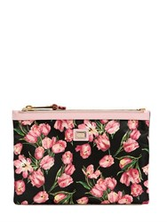 Dolce And Gabbana Tulips Printed Nylon Pouch