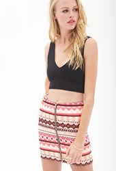 Forever 21 Zippered Tribal Print Skirt