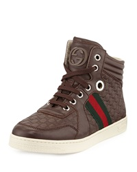 Gucci Junior Leather High Top Sneaker Brown