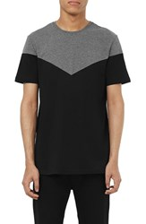 Men's Topman Slim Fit Chevron Panel Crewneck T Shirt