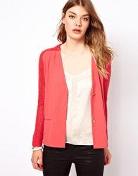 By Zoe Chunky Knitted Jacket With Woven Silk Front Tagad