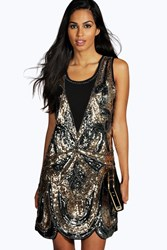 Boohoo Ciara All Over Embellished Shift Dress Pewter