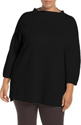 Eileen Fisher Plus Size Women's Funnel Neck Silk And Organic Cotton Knit