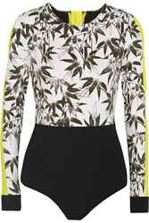 The Upside Bamboo Printed Stretch Jersey Paddle Suit Black