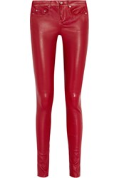 Saint Laurent Skinny Stretch Leather Pants Red