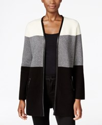 Charter Club Petite Colorblocked Cardigan Only At Macy's Deep Black Combo
