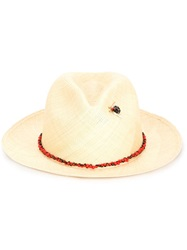 Valdez Panama Hats Beaded Detail Panama Hat Nude And Neutrals