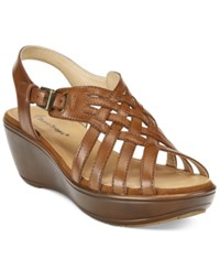 Bare Traps Dayna Platform Wedge Sandals Women's Shoes Cognac