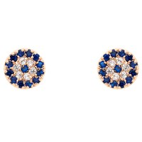 Melissa Odabash Glass Crystal Evil Eye Stud Earrings Rose Gold Blue