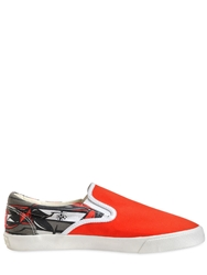 Bucketfeet Graffiti Print Canvas Slip On Sneakers Red