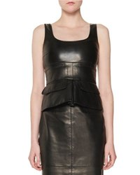 Tom Ford Stitched Leather Peplum Top Black