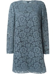 Valentino Floral Lace Dress Blue