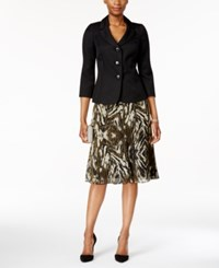 Le Suit Three Button Abstract Print Skirt Suit Black Loden
