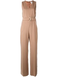 Max Mara 'Loriana' Belted Jumpsuit Nude And Neutrals