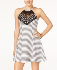 Material Girl Juniors' Striped Lace Halter Fit And Flare Dress Only At Macy's Cloud Dancer