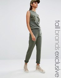 Daisy Street Tall Military Sleeveless Jumpsuit Khaki Green