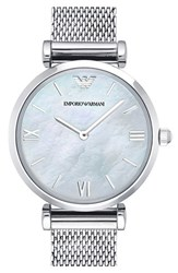 Women's Emporio Armani Mesh Strap Watch 32Mm Silver White