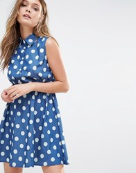 Iska Polka Dot Denim Shirt Dress Dark Navy