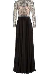 Catherine Deane Embellished Silk Floor Length Gown Multicolor
