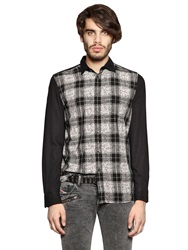 Diesel Plaid Viscose Jacquard Shirt Black White