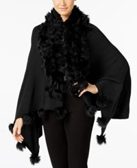 Alfani Faux Fur Trim Poncho Only At Macy's Deep Black